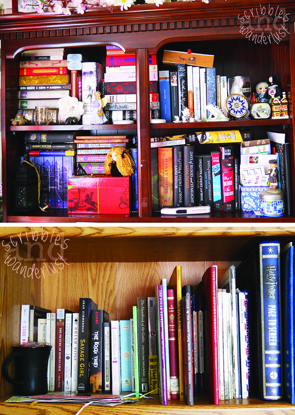 TOP: Jane Austen collection, Jane Eyre editions, Wuthering Heights editions, Harry Potter collection, and DoSaB collection BOTTOM: W-Z, children's books, and Harry Potter-related books. The following shelves on this bookcase contain photo albums, nonfiction essentials, and pantry items. This bookcase acts more like a junk drawer than anything else.